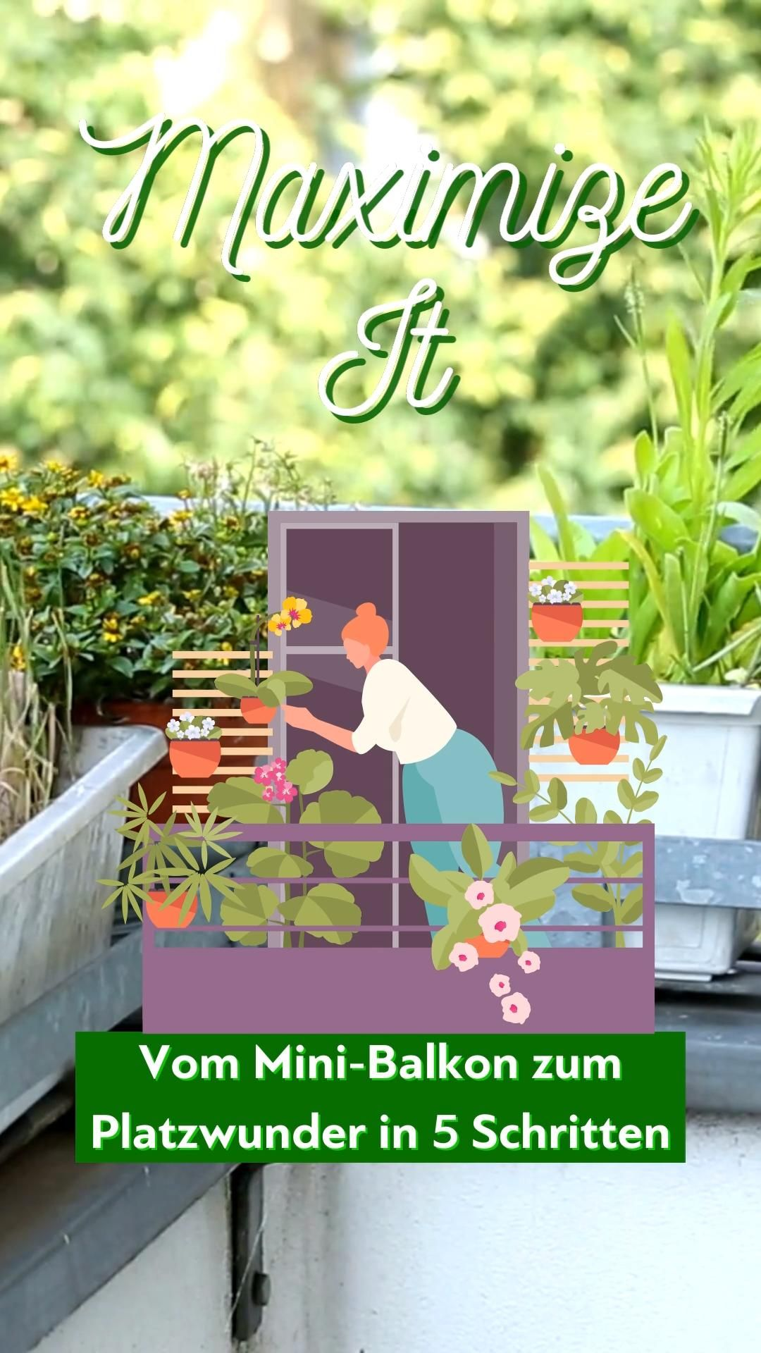Vom Mini Balkon zum Platzwunder in 8 Schritten [Video] [Video] in 8    Balkon, Blumentopf, Balkon pflanzen