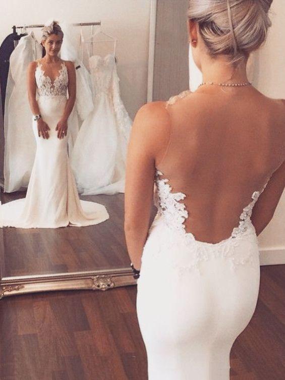 Sheer+Back+Appliques+Lace+Mermaid/Trumpet+Spandex+Wedding+Dress