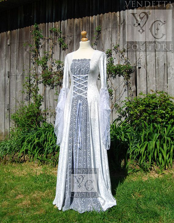 Medieval Dress Wedding gown Handfasting Celtic Fairy sizes S