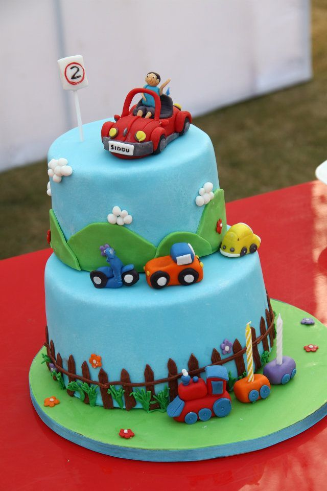Fondant Birthday Cake For A Baby Boy