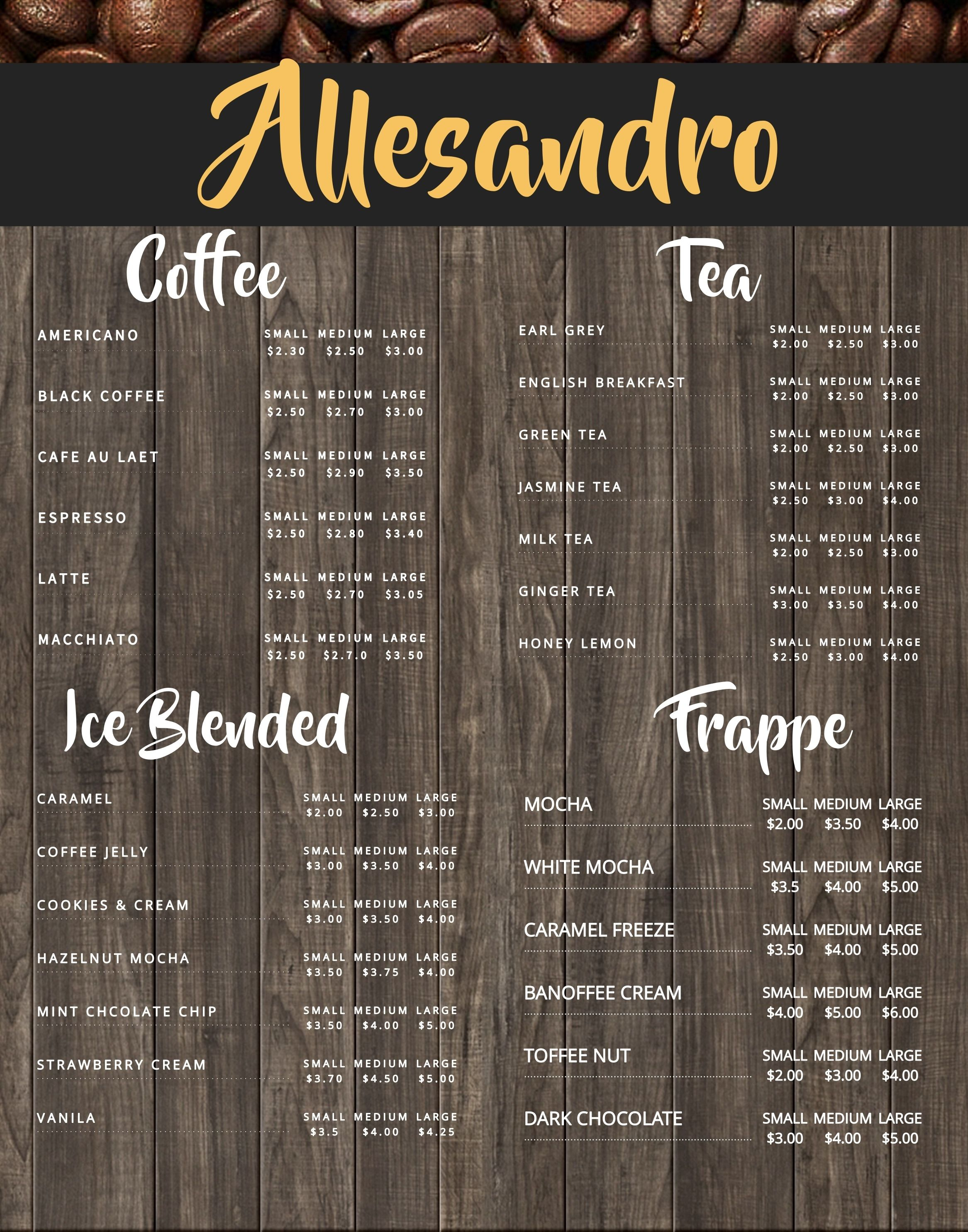 Coffee shop menu board design template. Click to customize ...