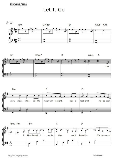 Free Let It Go Easy Version Frozen Theme Sheet Music Preview 1