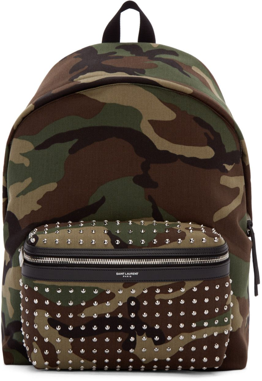 16892f93bea7 SAINT LAURENT Green   Brown Canvas Camouflage Backpack.  saintlaurent  bags   leather  lining  canvas  backpacks