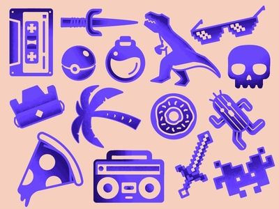Items from retro wallpaper pattern