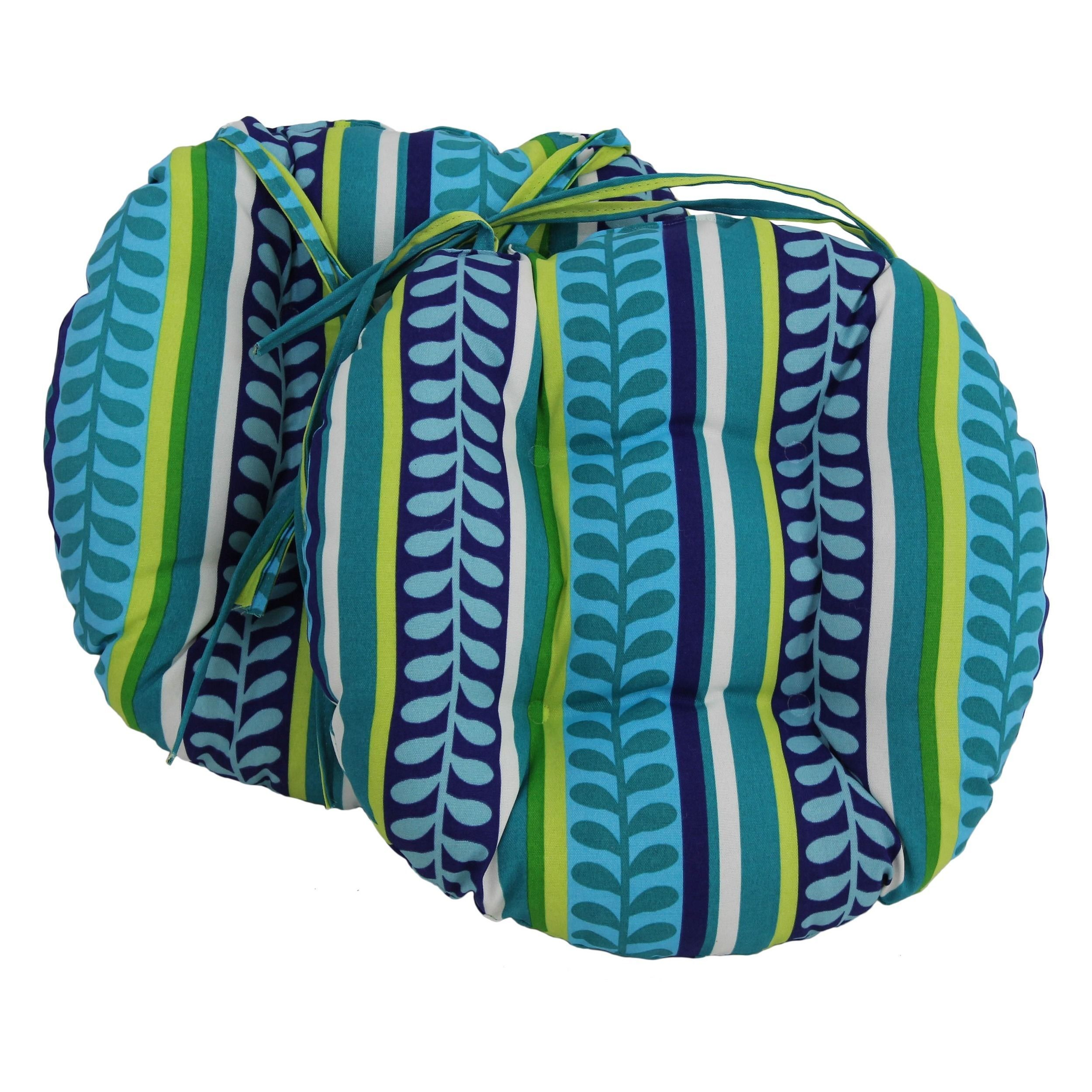 Blazing Needles 16x16 Inch Round Patterned Outdoor Chair Cushions (Set Of  2)