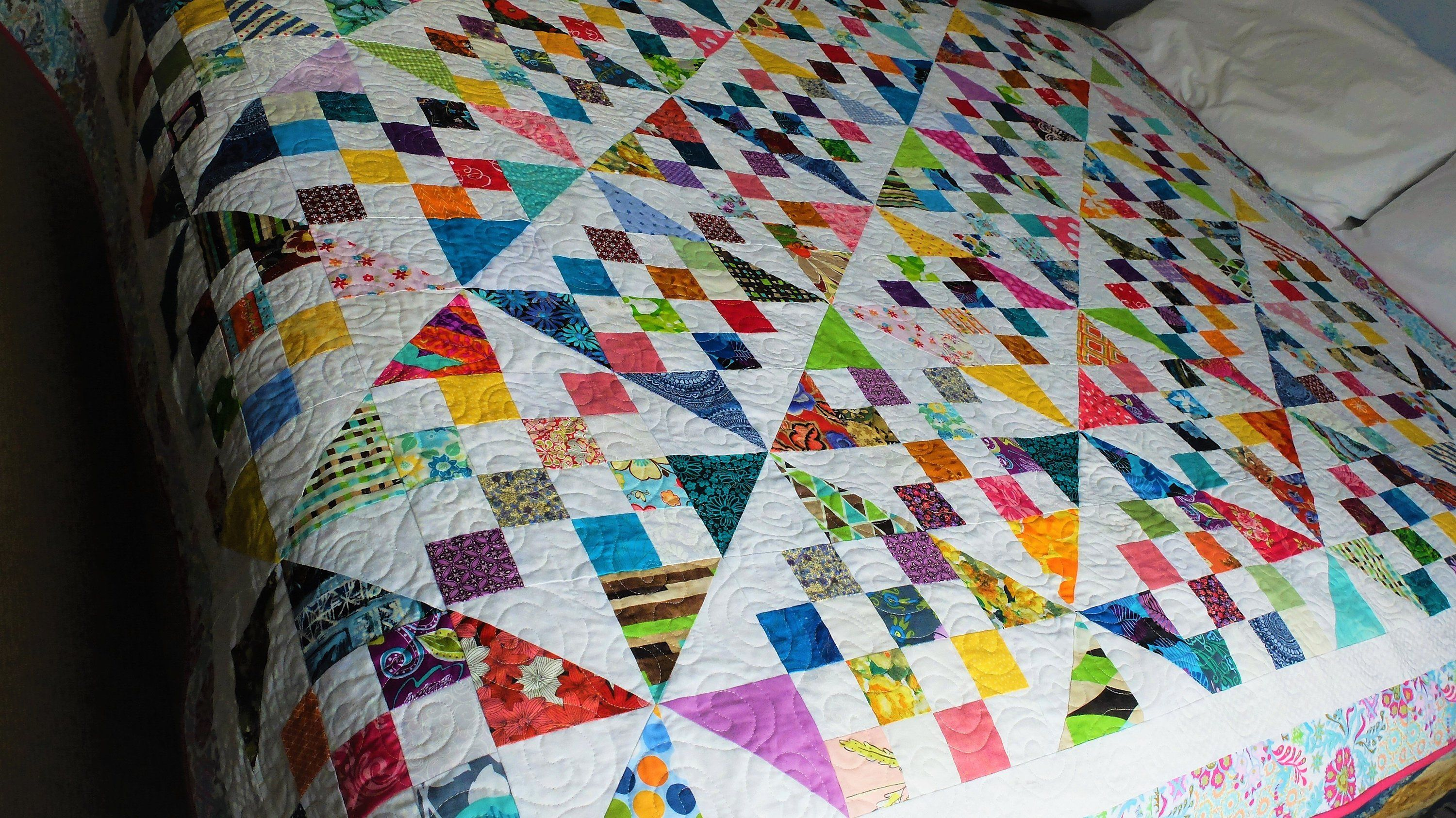 Scrappy Patchwork Quilt Double Or Single Bed Quilt Colourful Modern Design Girl S Quilt Patchwork Quilts Quilts Start Quilting