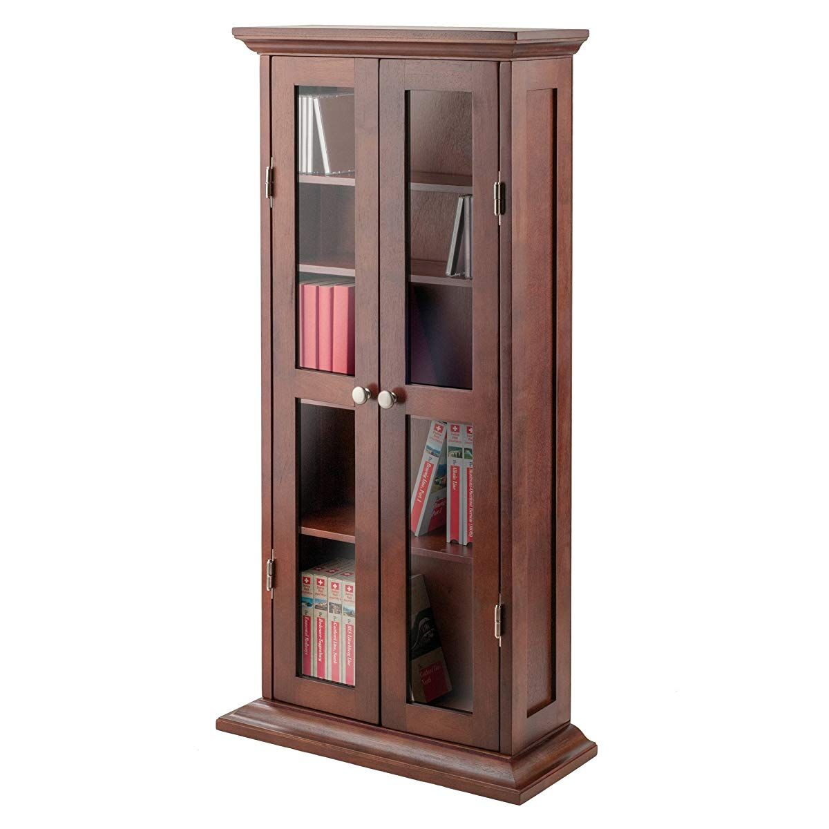 Cddvd Cabinet With Glass Doors Antique Walnut Media Cabinet With