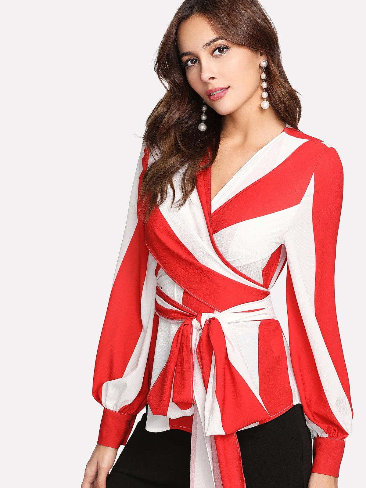f5b3fe747b Long Sleeve Blouses. Shirt Decorated with Colorblock, Button, Belted, Knot,  Wrap