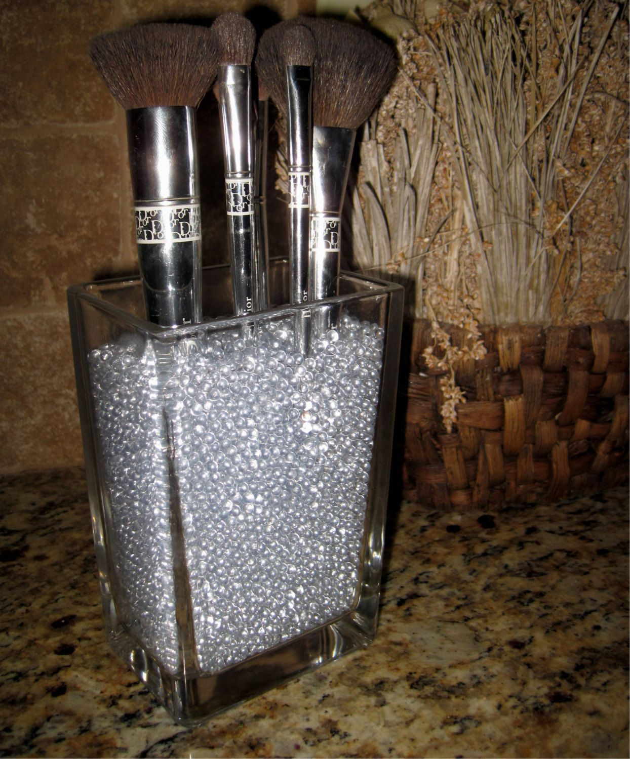 brush holder beads. sephora inspired brush holder with clear glass beads. $29.95, via etsy. beads e