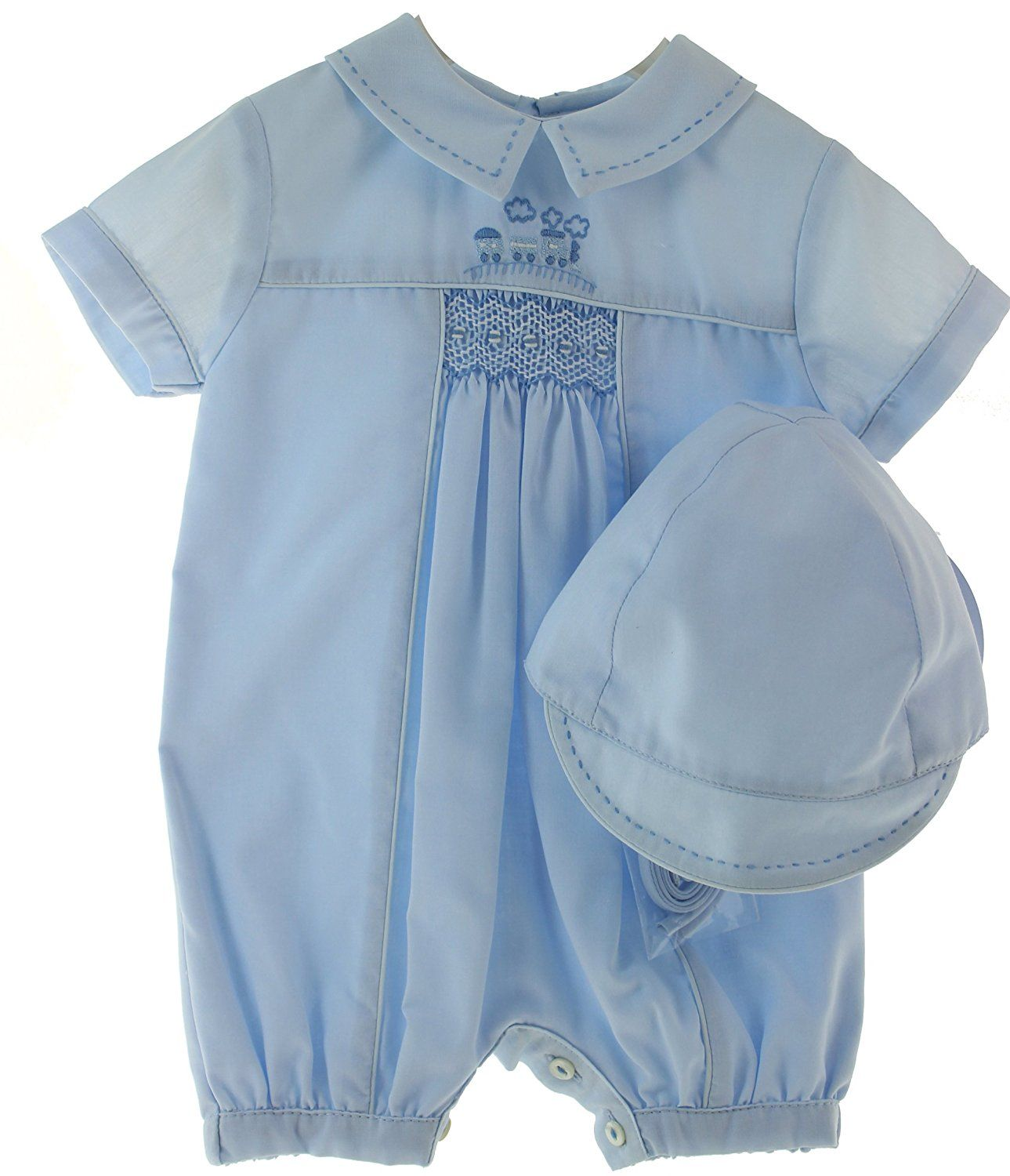 e30f59cda13 Amazon.com  Newborn Boys Blue Take Home Romper Outfit with Train   Hat  Layette Set Sarah Louise (NB)  Clothing