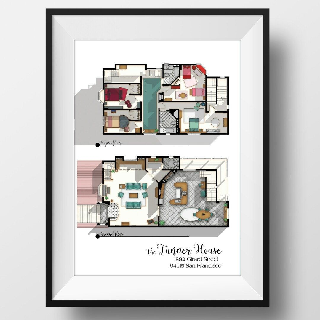 tanners dream office good layout. Full House TV Show Floor Plan- Fuller Tv Layout- The Tanner From -Gift Idea For Fan Tanners Dream Office Good Layout