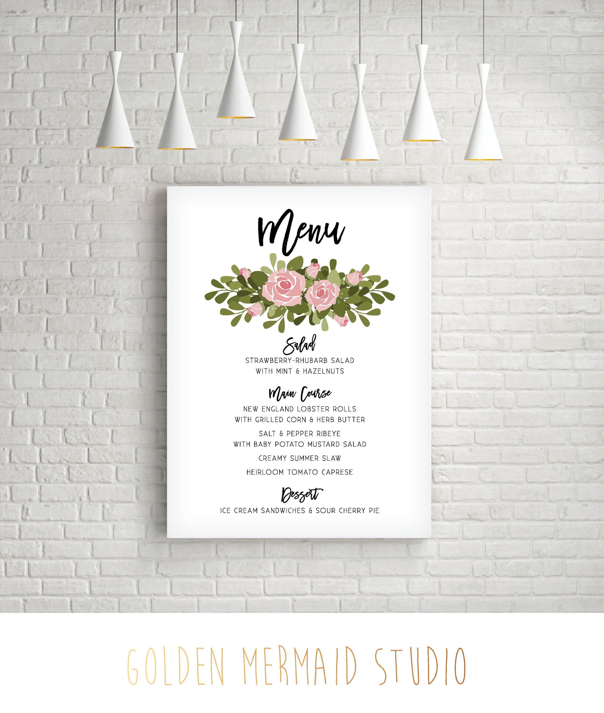 The GARDEN Wedding Menu Sign Reception Dinner Decor