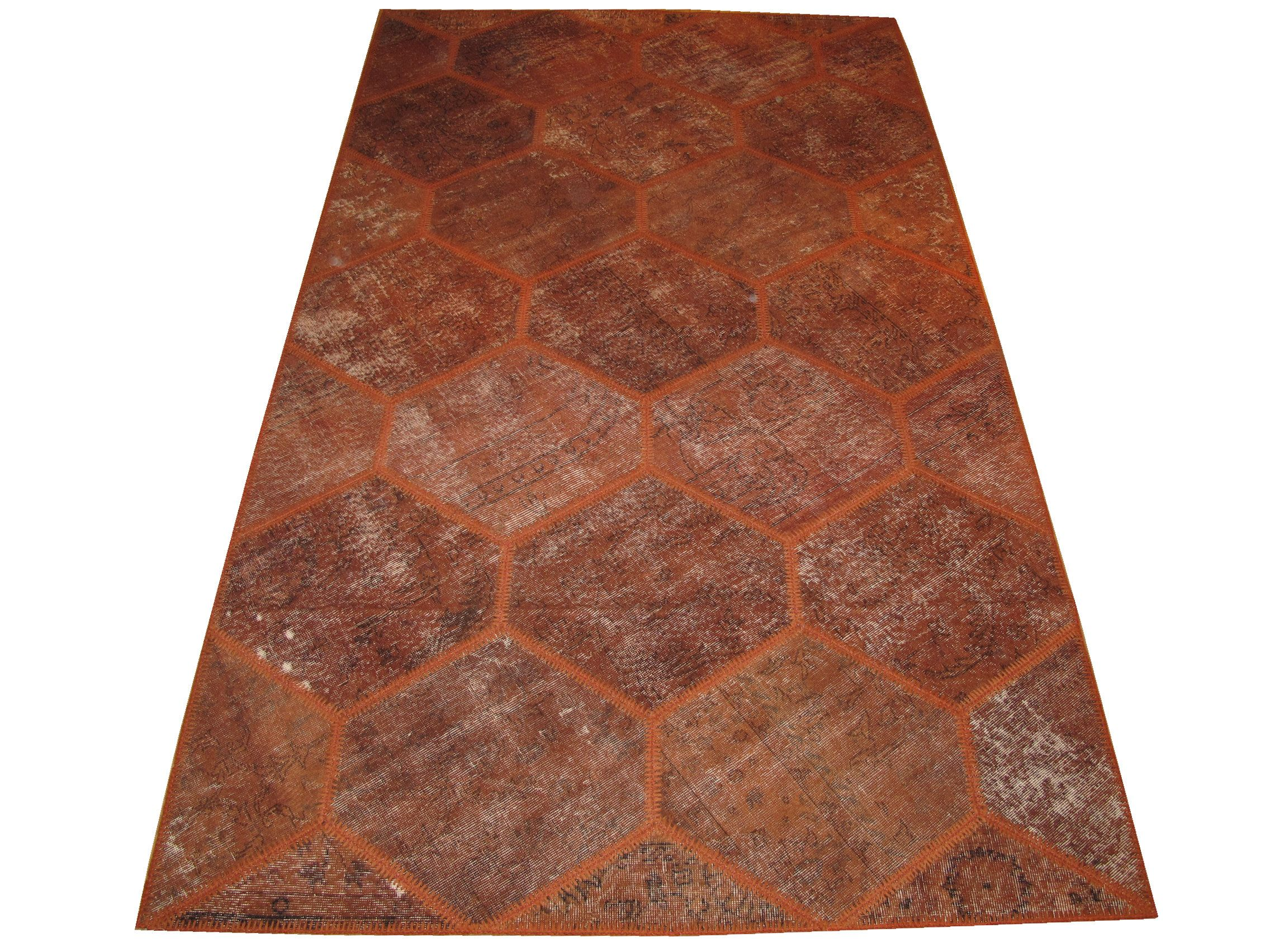 Honeycomb Design Patchwork Carpet Made With Brickred Color Overdyed Rugs 118x70 Inches 300x178 Cm 9 10 X5 10 Feet 2020