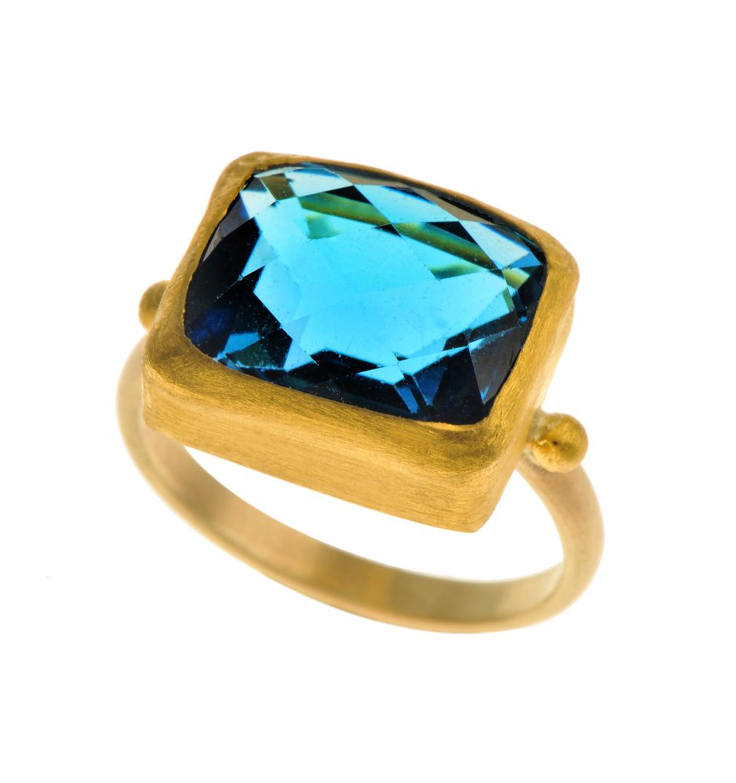 24k gold Blue Topaz ring
