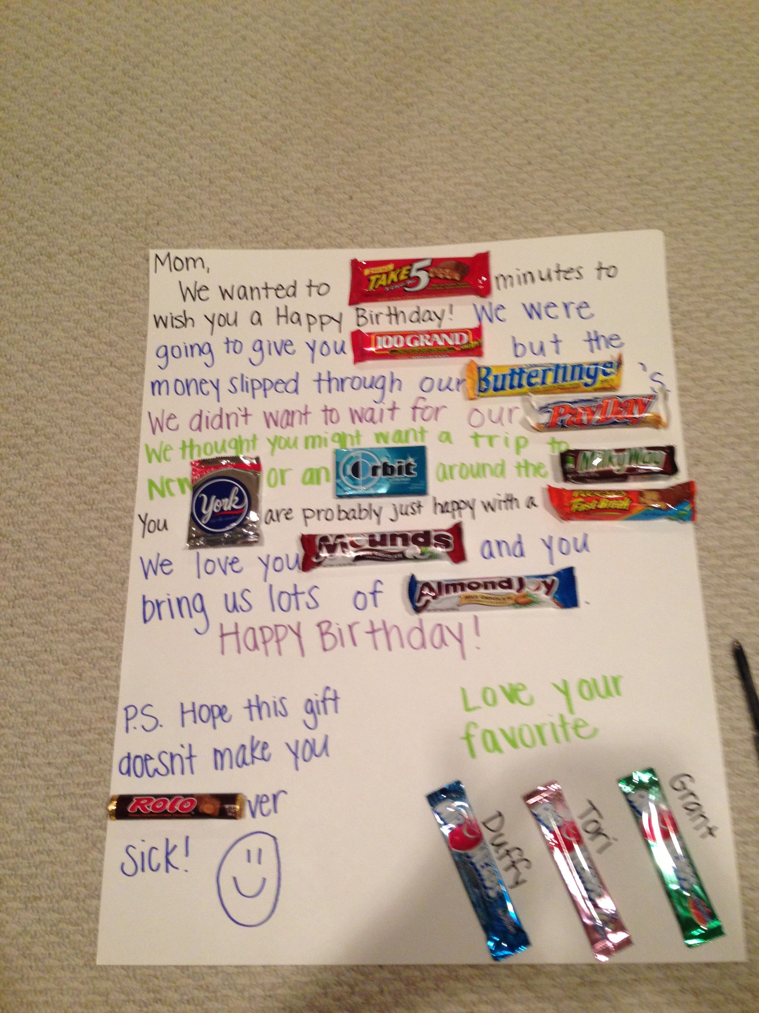 Candy Card for Mom AWESOME IDEAS Pinterest