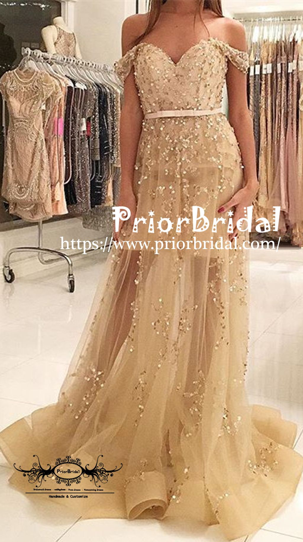 Off shoulder gold sequin appliques seethrough sweetheart prom gown