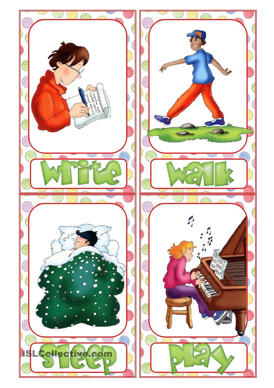 Action Verb Flashcards Ingles Para Ninos Ensenanza De Ingles Actividades Educativas