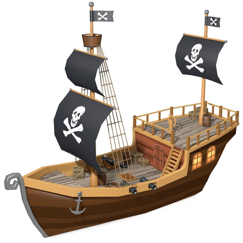 Low Poly Pirate Ship 3d Model Cardboard Pirate Ship Kids Pirate Ship Pirate Ship Model