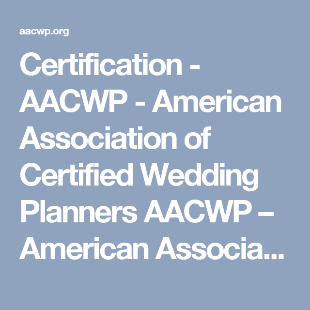 Certification AACWP American Association of Certified Wedding