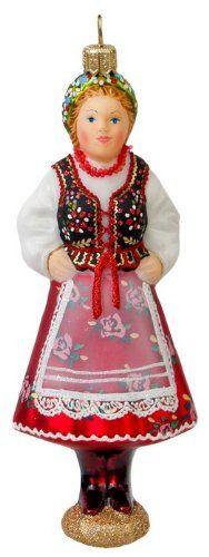 Blown-Glass Ornament - Krakowianka, Cracovian Female 5.5 in