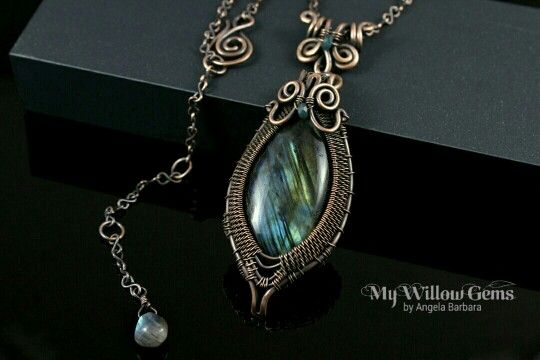 Wire Wrapped Labradorite Necklace - Copper and Natural Gemstone Pendant with Blue and Green Flash - Aurora Borealis Collection  https://www.etsy.com/ca/listing/266277942/wire-wrapped-labradorite-necklace-copper?ref=shop_home_active_1#handmadejewelry #artisanjewelry #wirework #wirewrappedjewelry  #labradorite #copper  #necklace  #angelabarbara