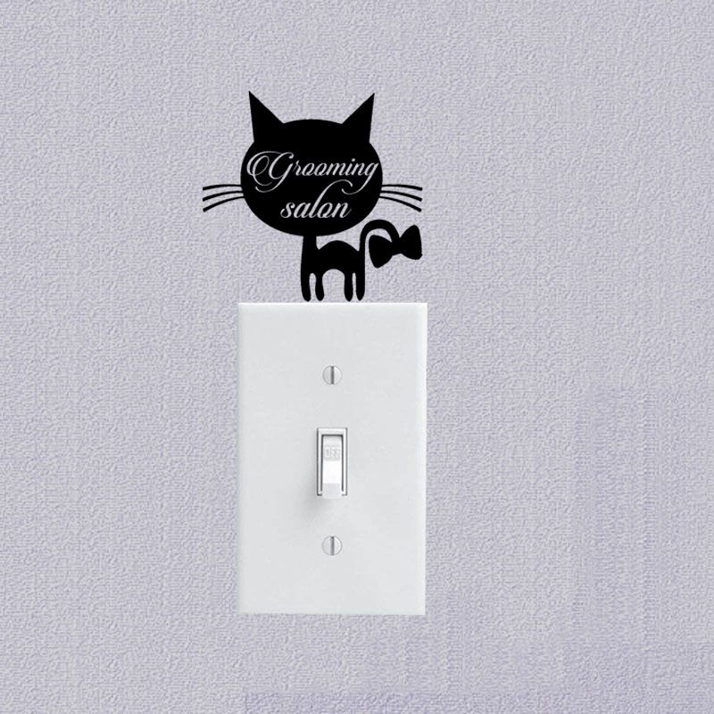 Domestic Pet Animals Vinyl Wall Decal Cat Switch Sticker Interior - Vinyl decal cat pinterest