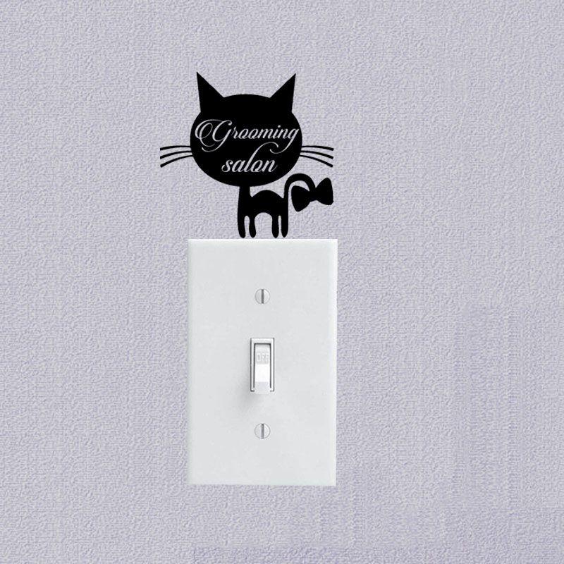 Domestic Pet Animals Vinyl Wall Decal Cat Switch Sticker Interior - Vinyl decal cat pinterest