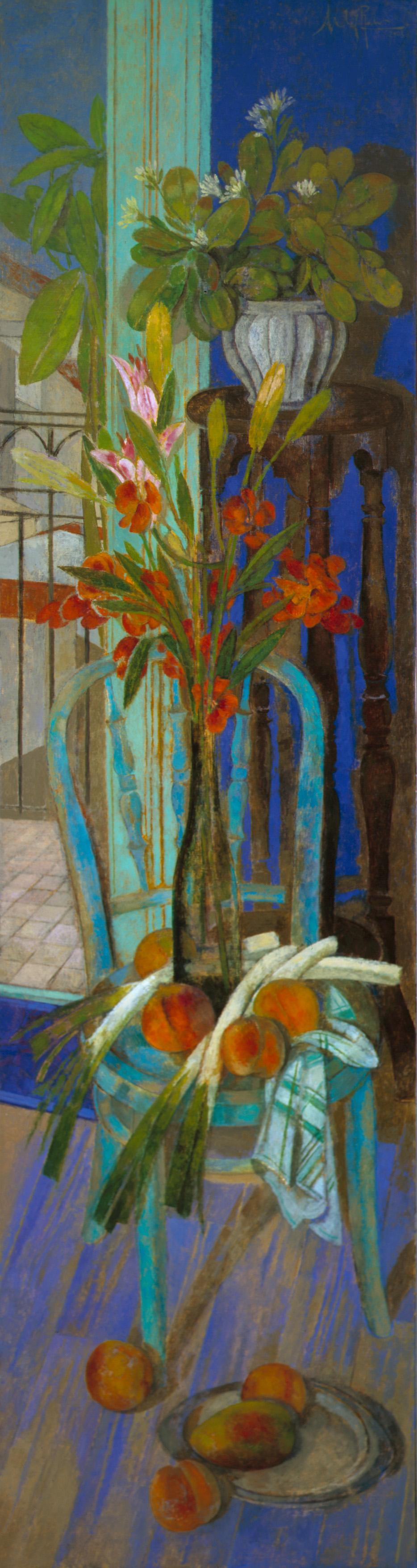 """""""Bodegón vertical"""" Óleo sobre lienzo, 195 x 50 cm."""