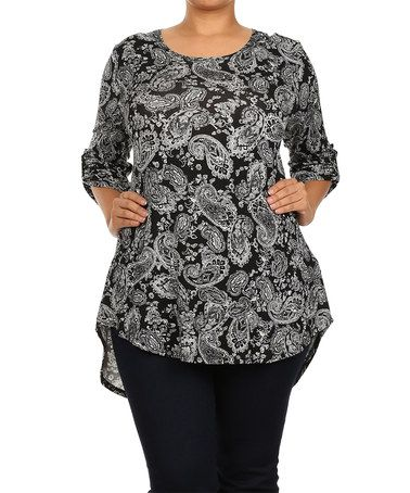 25efbb572a9def Another great find on #zulily! Black & White Paisley Hi-Low Top - Plus  #zulilyfinds