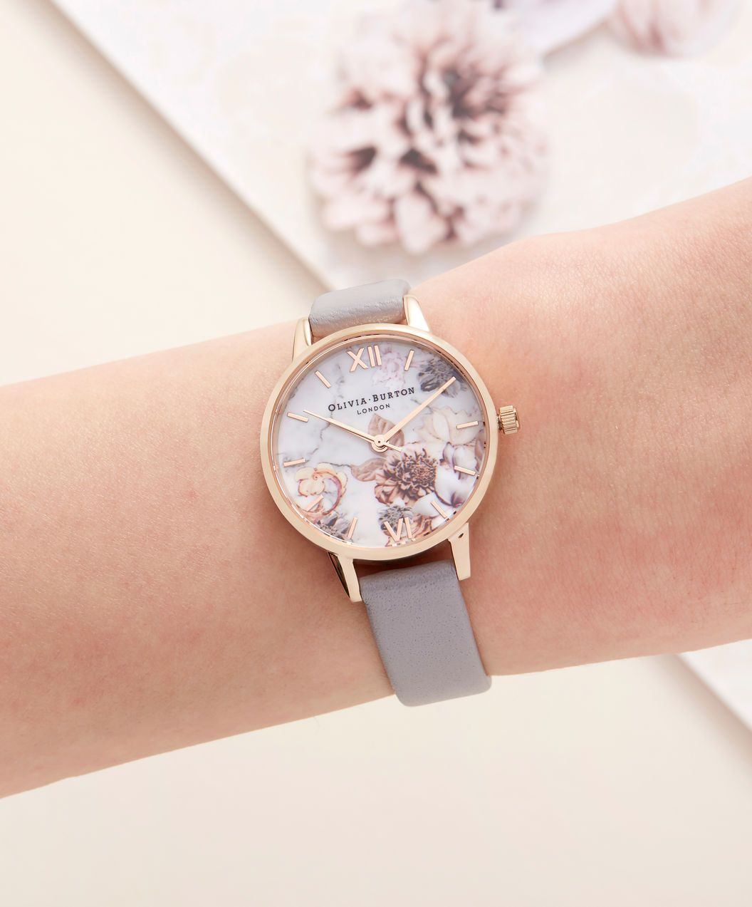 cf45ec500 OLIVIA BURTON LONDON Marble Floral Grey Lilac & Rose Gold Watch OB16CS14 – Midi  Dial Round in Floral Sand and Rose Gold - Other view