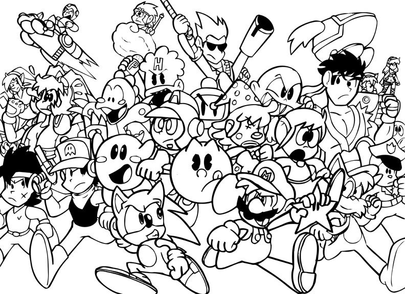 Childhood Game Characters Coloring Pages For Kids Coloring