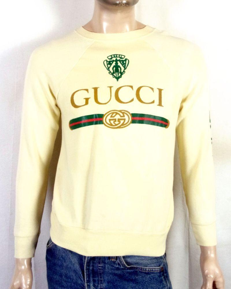 fae713755dc vtg 80s BOOTLEG Gucci Sweatshirt Raglan Crewneck Hip Hop Rap sweater spell  out M