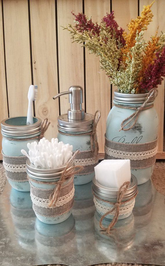Rustic Mason Jar Bathroom Set Shabby Chic Decor Distressed Home Decor Farmhouse Chic Country Jars Housewarming Gift Gift #style #shopping #styles #outfit #pretty #girl #girls #beauty #beautiful #me #cute #stylish #photooftheday #swag #dress #shoes #diy #design #fashion #homedecor