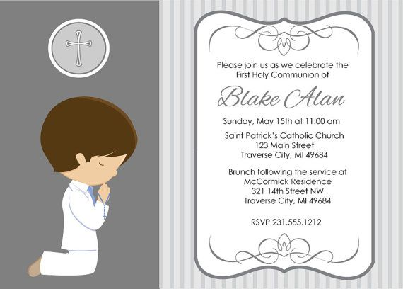 boy praying first communion invitation you print - Printable Boy