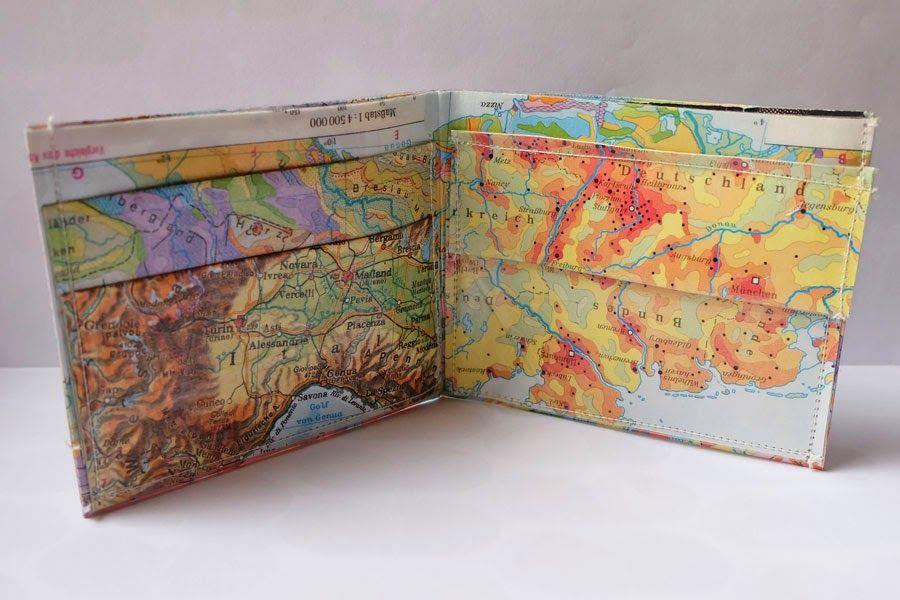 geldbeutel aus laminierten landkarten purse made from. Black Bedroom Furniture Sets. Home Design Ideas