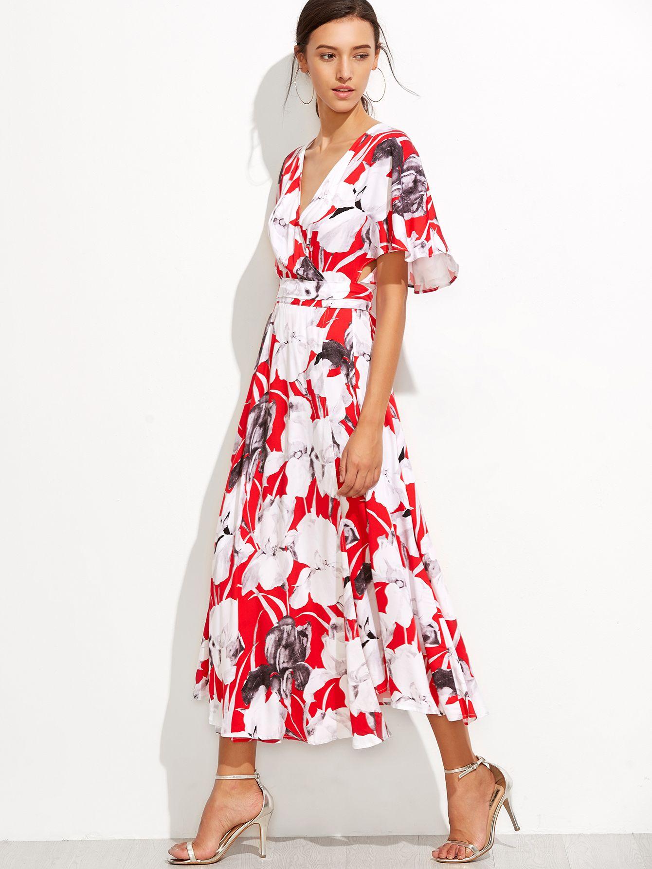 Red Flower Print Flutter Sleeve Surplice Wrap Dress Wrap Dress Dresses Surplice Wrap Dress [ 1785 x 1340 Pixel ]