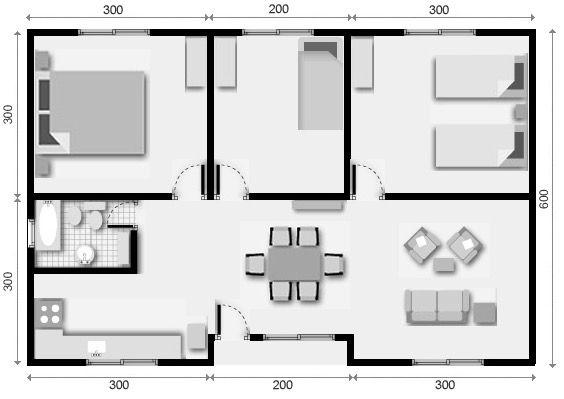9 plano de casa 3 dormitorios planos de departamentos en 2019 planos de casas prefabricadas. Black Bedroom Furniture Sets. Home Design Ideas