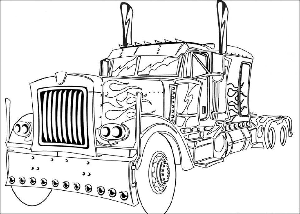 Magnífico Optimus Prime Truck Para Colorear Inspiración - Dibujos ...