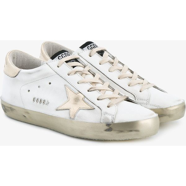 Golden Goose Leather Superstar Sneakers ($495) ❤ liked on Polyvore featuring shoes, sneakers, star shoes, pointed-toe sneakers, leather sneakers, lace up shoes and metallic shoes