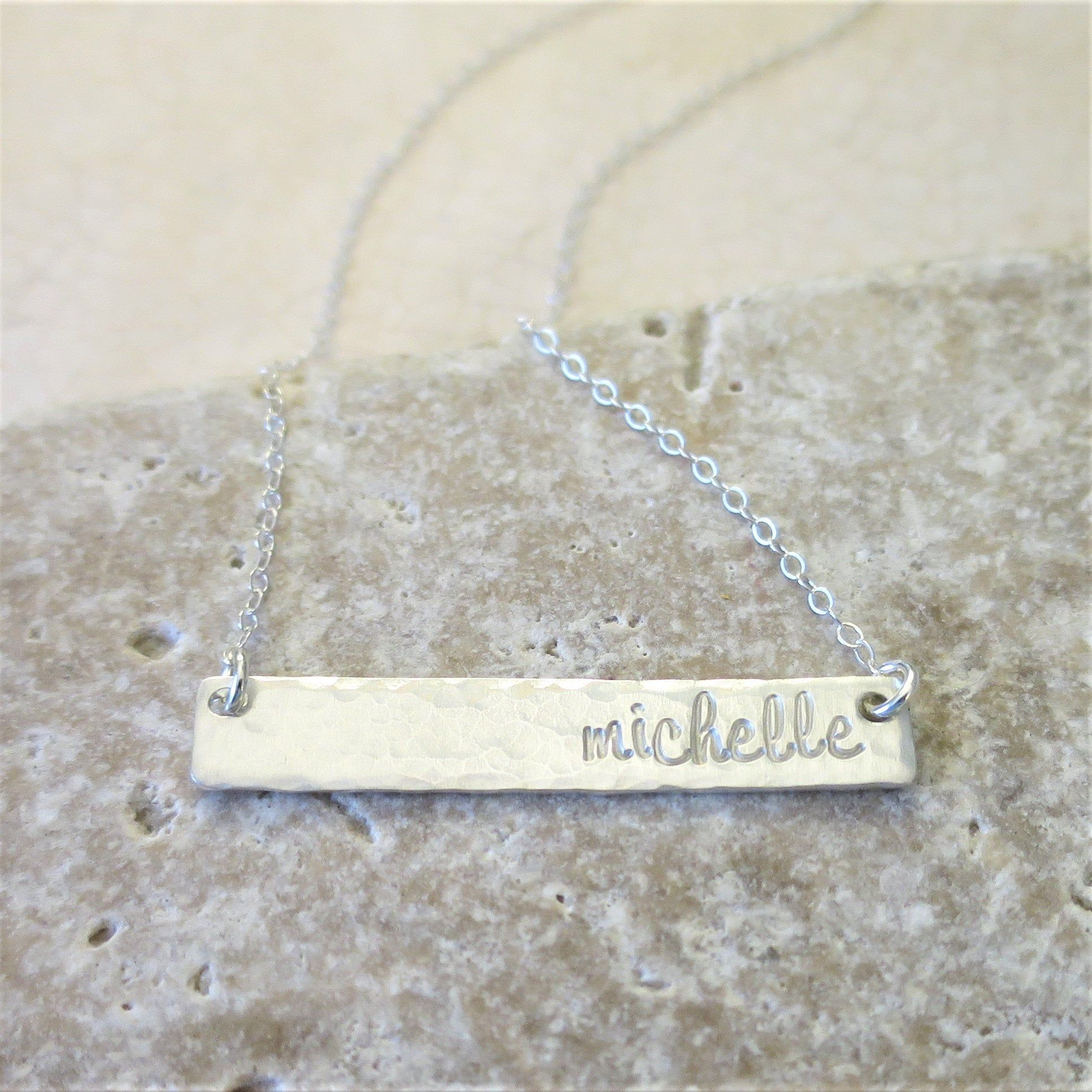 Name Necklace | Sterling Silver Bar Necklace | Silver Name Bar | Script Name | Engraved Name | Hand Stamped Name Jewelry | Custom Jewelry