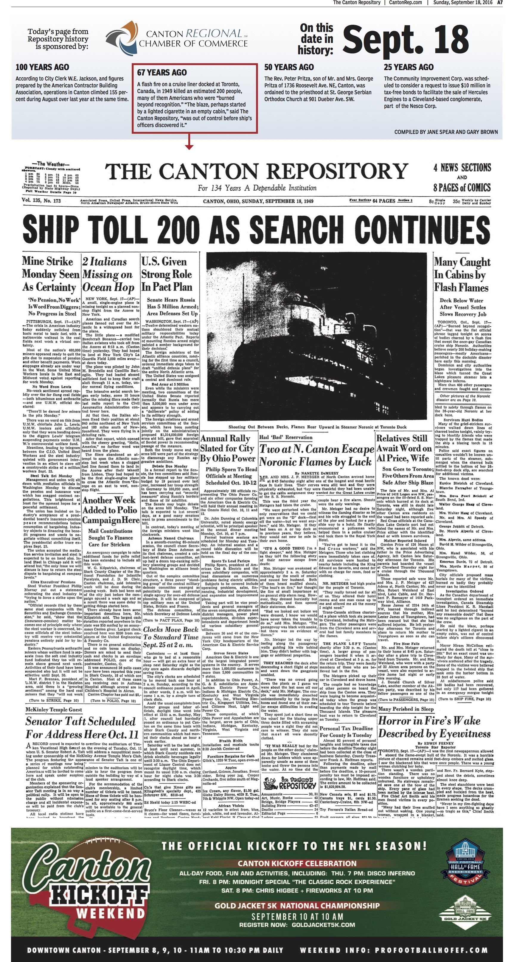 A fatal fire on a cruise ship was front-page news in  The Repository for September 18, 1949.