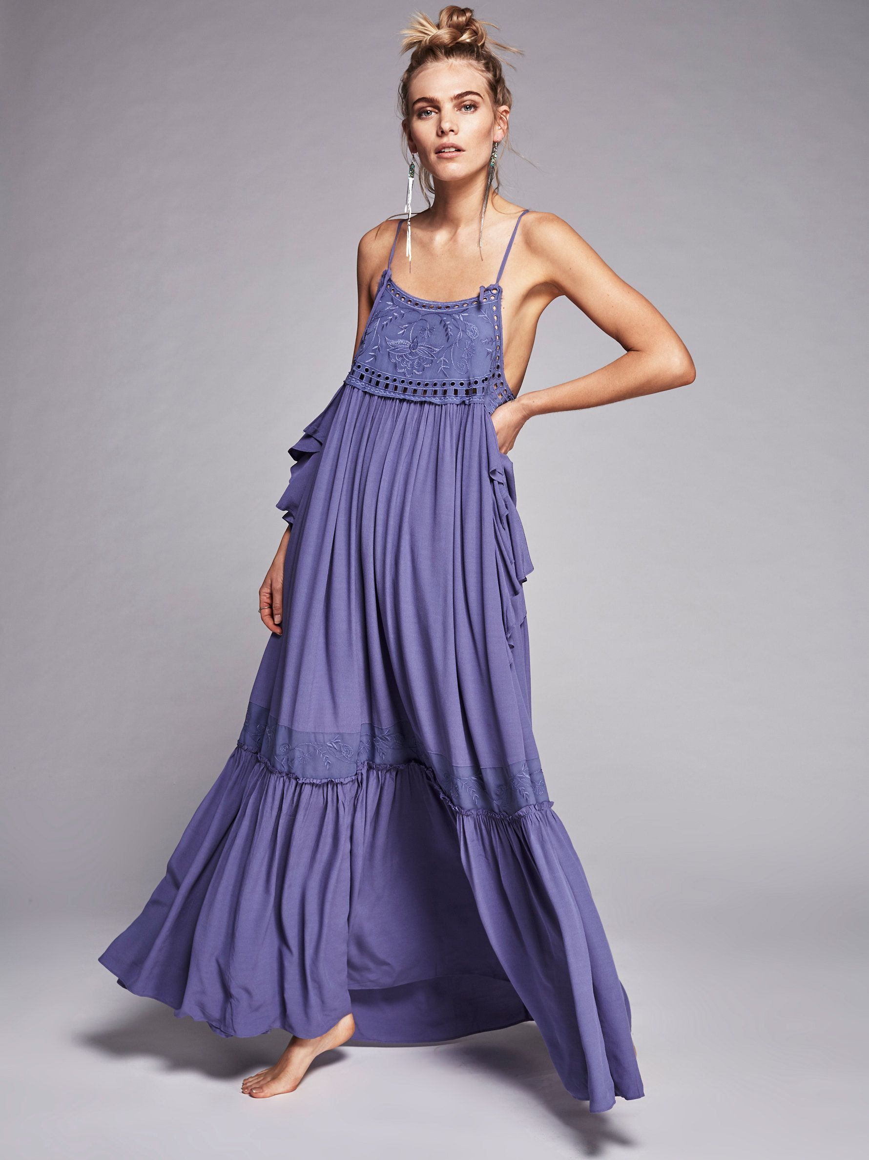 Sun Drenched Elsewhere   Boho maxi dress with a full skirt featuring ...