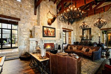 eclectic spanish style lake house rustic living room austin