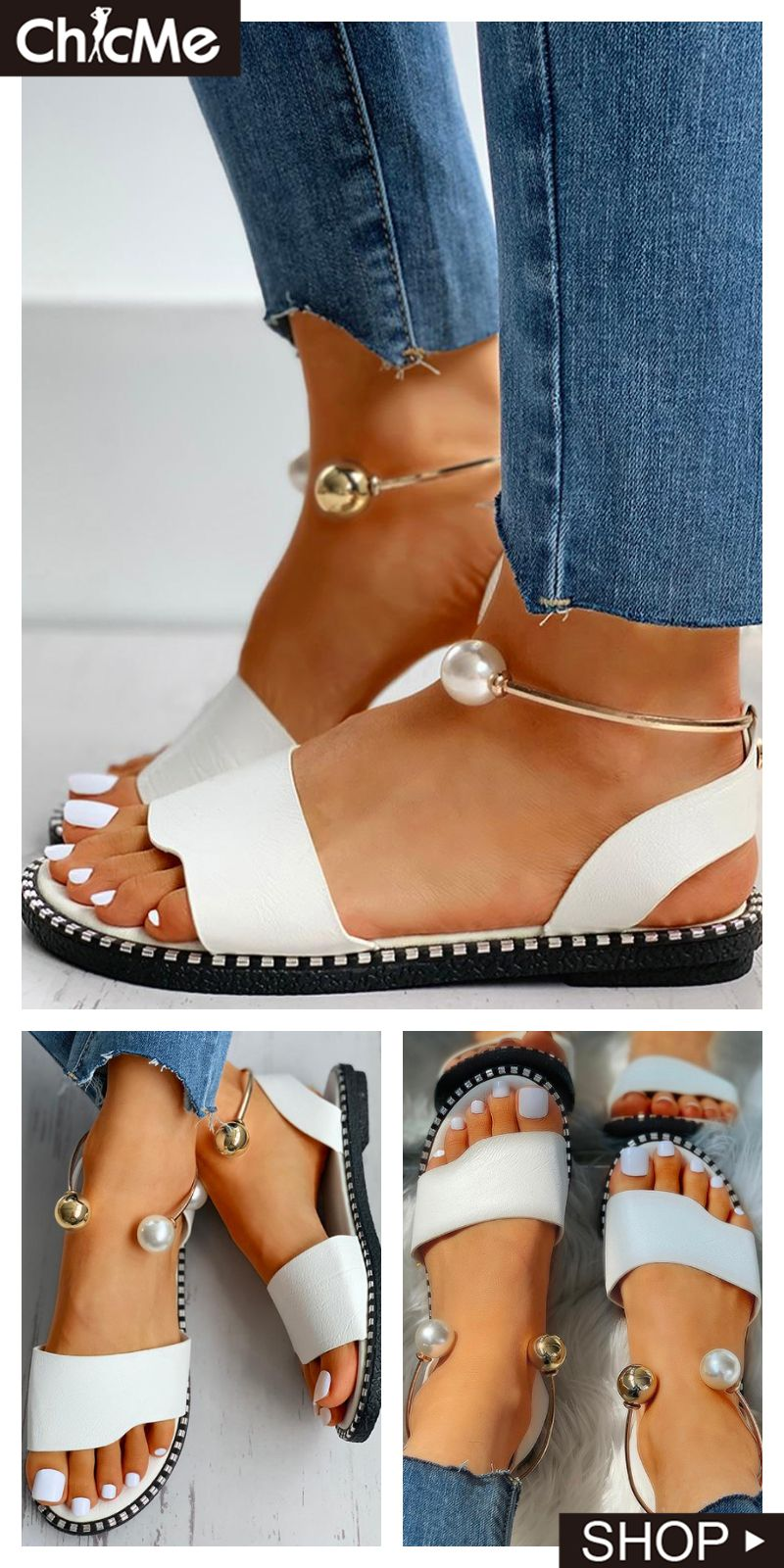 Beaded ankle ring slingback flat sandals in 2020 chic