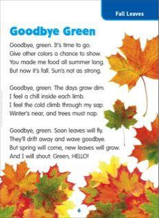 Goodbye Green (Fall Leaves): Science Poem} - Printables ...