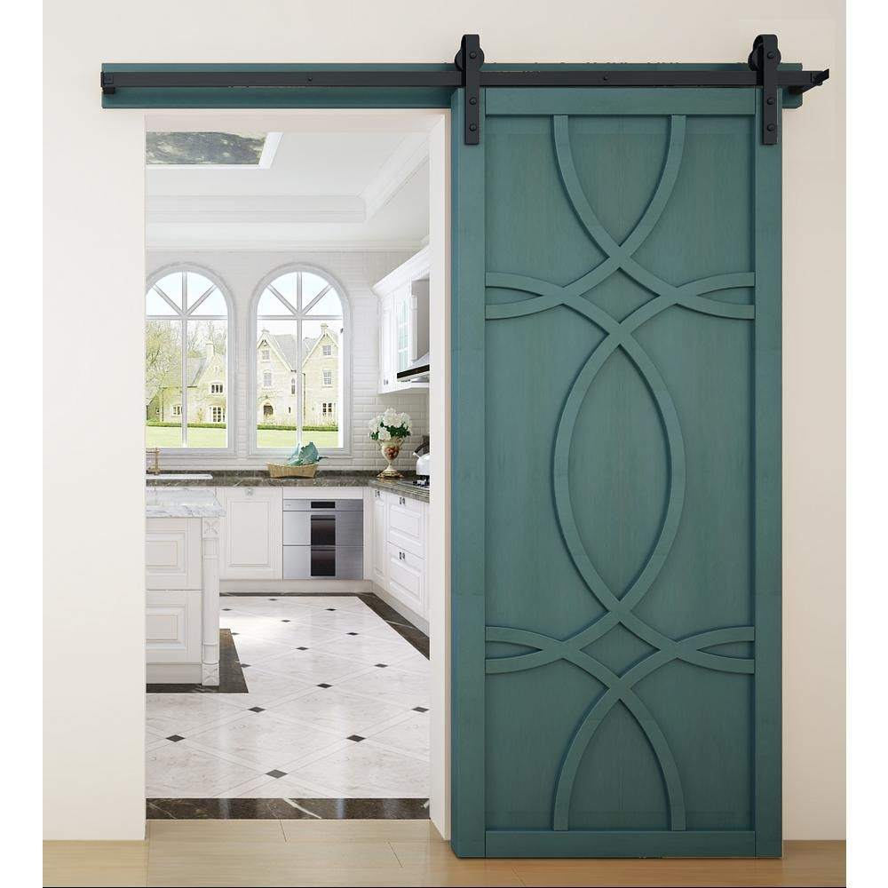 VeryCustom 36 in. x 84 in. Hollywood Caribbean Wood Sliding Barn Door with Hardware Kit-RWHW36CBB1 - The Home Depot