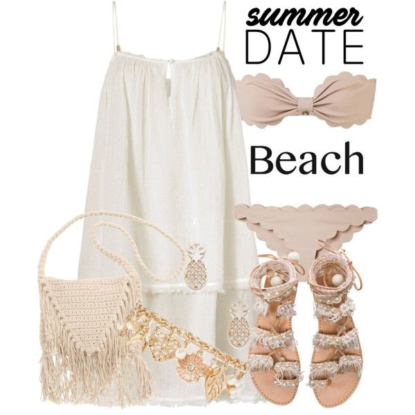 Summer Date: The Beach by deedee-pekarik on Polyvore featuring mode, Heidi Klein, Marysia Swim, Elina Linardaki, Billabong, Forever 21, Sole Society, beach and summerdate
