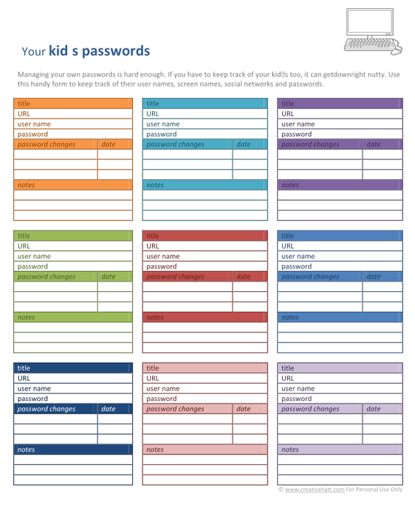 free printable password organizer template