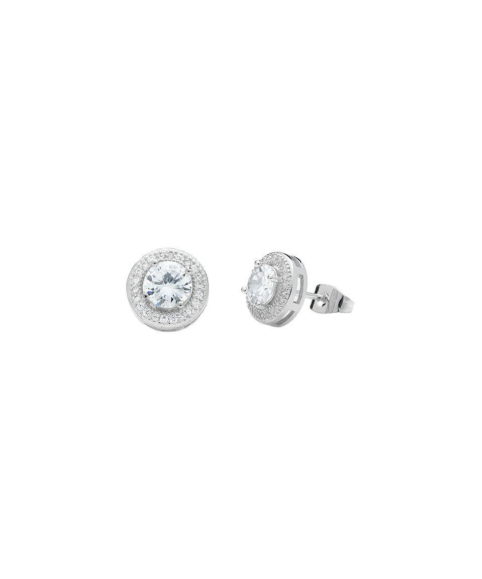 Take A Look At This Golden Moon Sterling Silver Halo Stud Earrings With Swarovski Crystals Today