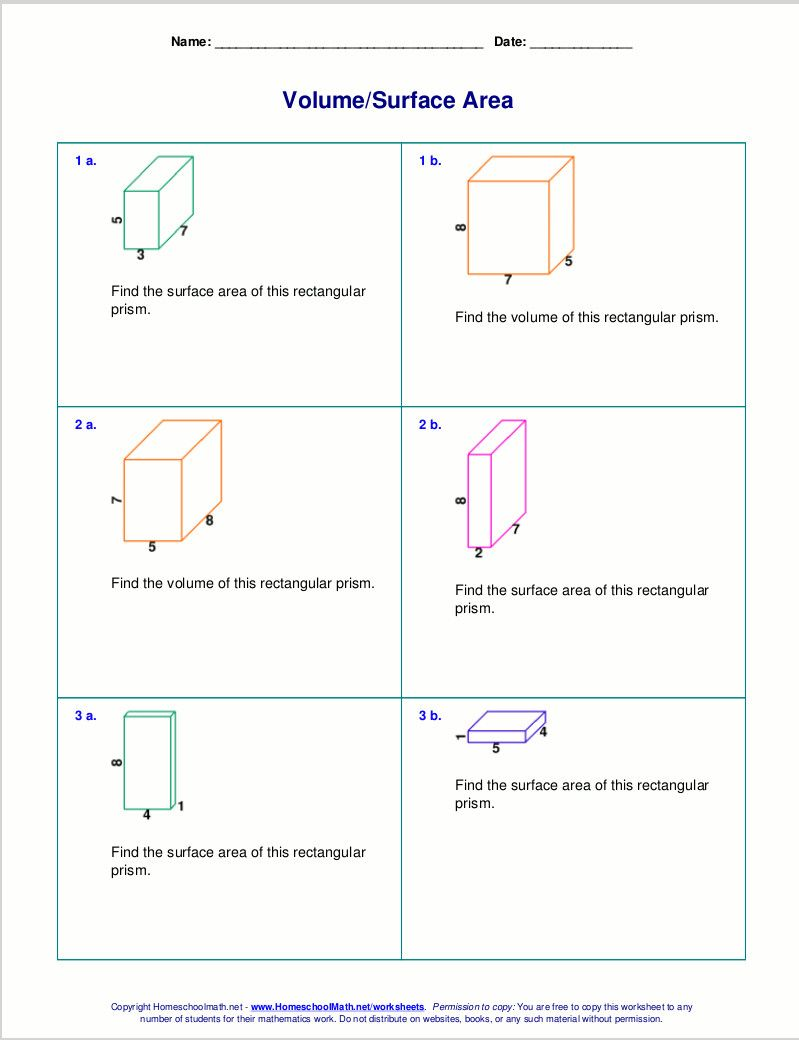 New 2013 11 17 Volume And Surface Area Of Rectangular Prisms With Whole Numbers A Volume Worksheets Area Worksheets Free Math Worksheets